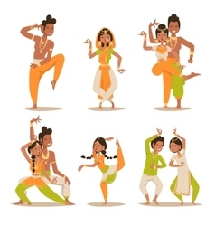 Indian women and man dancing isolated vector