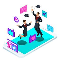 isometrics graduates jumping rejoice academic vector image