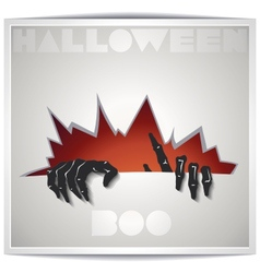 Just Halloween party poster with zombie hand vector image