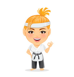 Karate woman in kimono smiling funny cartoon vector