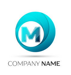 Letter m logo symbol in the colorful circle on vector