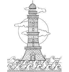Lighthouse coloring book vector