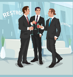 Men in business suits drink red wine in office vector