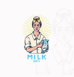 milk badge woman farmer or milkmaid vintage logo vector image