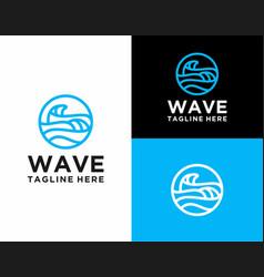Modern line art wave logo vector