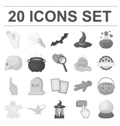 Monochrome and white magic monochrome icons in set vector