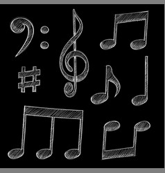 Music signs notes and symbols on black background vector