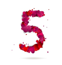 Number five 4 made from red hearts Love alphabet vector image