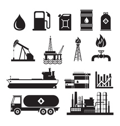 Oil Industry Object Silhouette Set vector