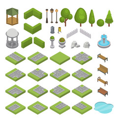park isometric parkland with green garden vector image