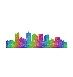 Phoenix skyline silhouette - multicolor line art vector