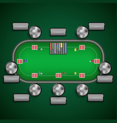 Poker table with chairs and cards chips player vector