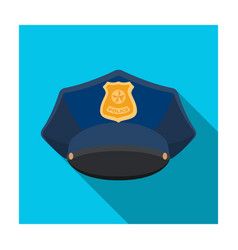 police cap icon in flat style isolated on white vector image