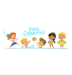 Pool party invitation template baner multiracial vector