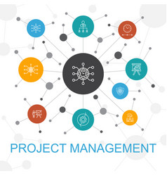 Project management trendy web concept with icons vector