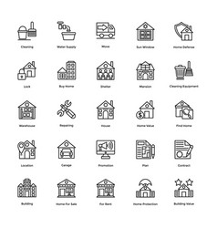 Real estate creative icons pack vector