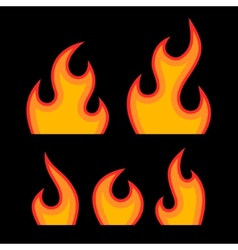 Red Fire Flames Set vector