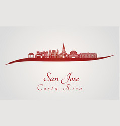 San jose skyline in red vector