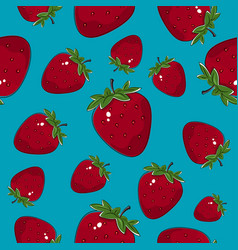 seamless pattern strawberry on azure background vector image