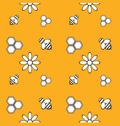 seamless pattern with honey bee and flowers vector image