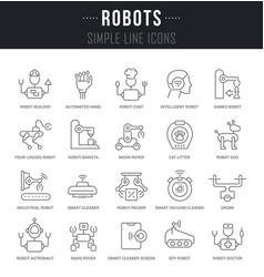 Set line icons robots vector