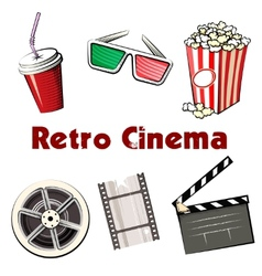 Set of colored Retro Cinema icons vector image