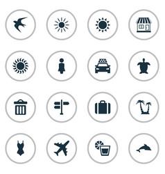 Set simple beach icons vector