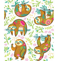 Sloth bear animal characters in floral ornament vector