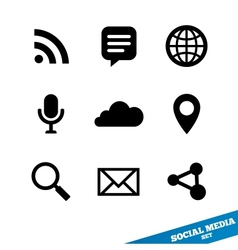 Social media icons Black signs for app vector