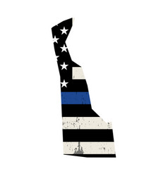 state delaware police support flag vector image