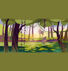 Summer landscape with deer and swamp in forest vector