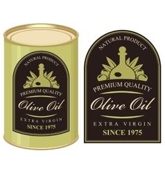 Tin with label olive oil vector