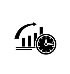 to be on time black icon sign on isolated vector image