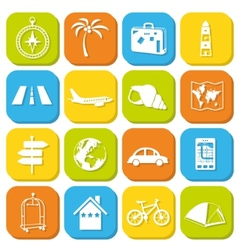 Travel icons in squares vector