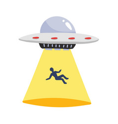 Ufo abducts human spaceship ray light vector