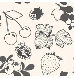 Unpainted berries pattern vector