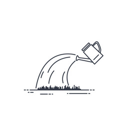 Watering can line vector
