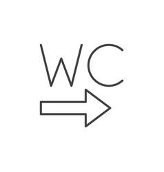Wc toilet with arrow icon in thin line vector