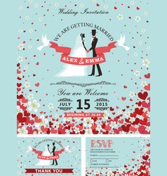 wedding invitation setbride groomfalling hearts vector image