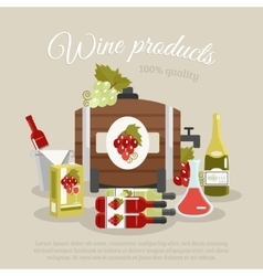 Wine products flat life still poster vector