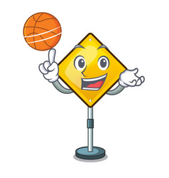 With basketball harm warning sign shaped on vector