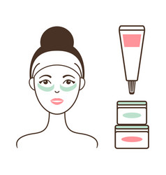 Woman in headband with tender cream under eyes vector