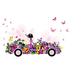woman on vintage flower car vector image
