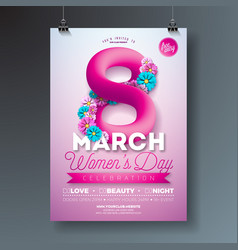 Womens day party flyer with abstract vector