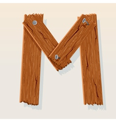 wooden letter m vector image