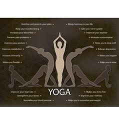 Yoga infographics benefits of yoga practice vector