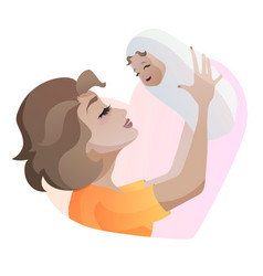 young mother with baby in hands throwing up baby vector image