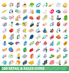 100 retail sales icons set isometric 3d style vector image