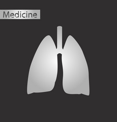 black and white style icon of lungs and trachea vector image