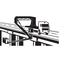 lifting machinery on bridge of highway vector image vector image